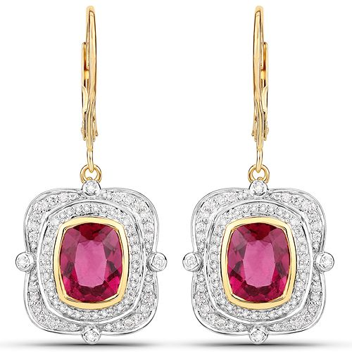 4.41 Carat Genuine Rubellite and White Diamond 14K Yellow Gold Earrings
