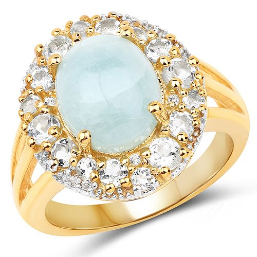 14K Yellow Gold Plated 6.72 Carat Genuine Aquamarine and White Topaz .925 Sterling Silver Ring