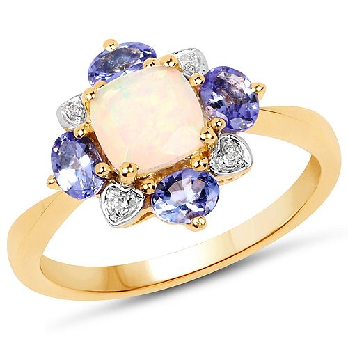 14K Yellow Gold Plated 1.20 Carat Genuine Ethiopian Opal, Tanzanite and White Topaz .925 Sterling Silver Ring
