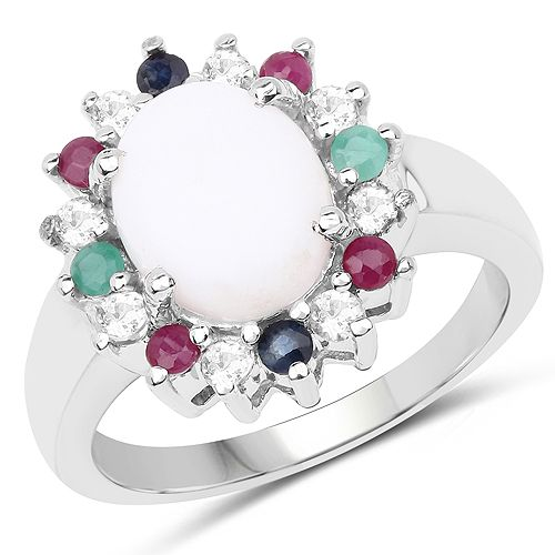 2.35 Carat Genuine Multi Stone .925 Sterling Silver Ring