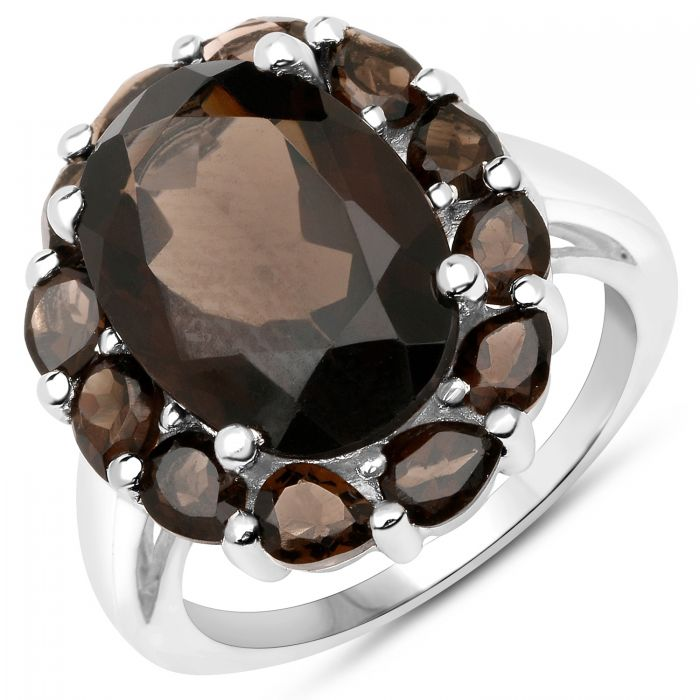 Rhodium Plated Sterling Silver Ring With Polished Smoky Quartz Gemstones.